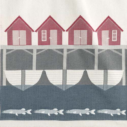 beach hut nautical tea towel