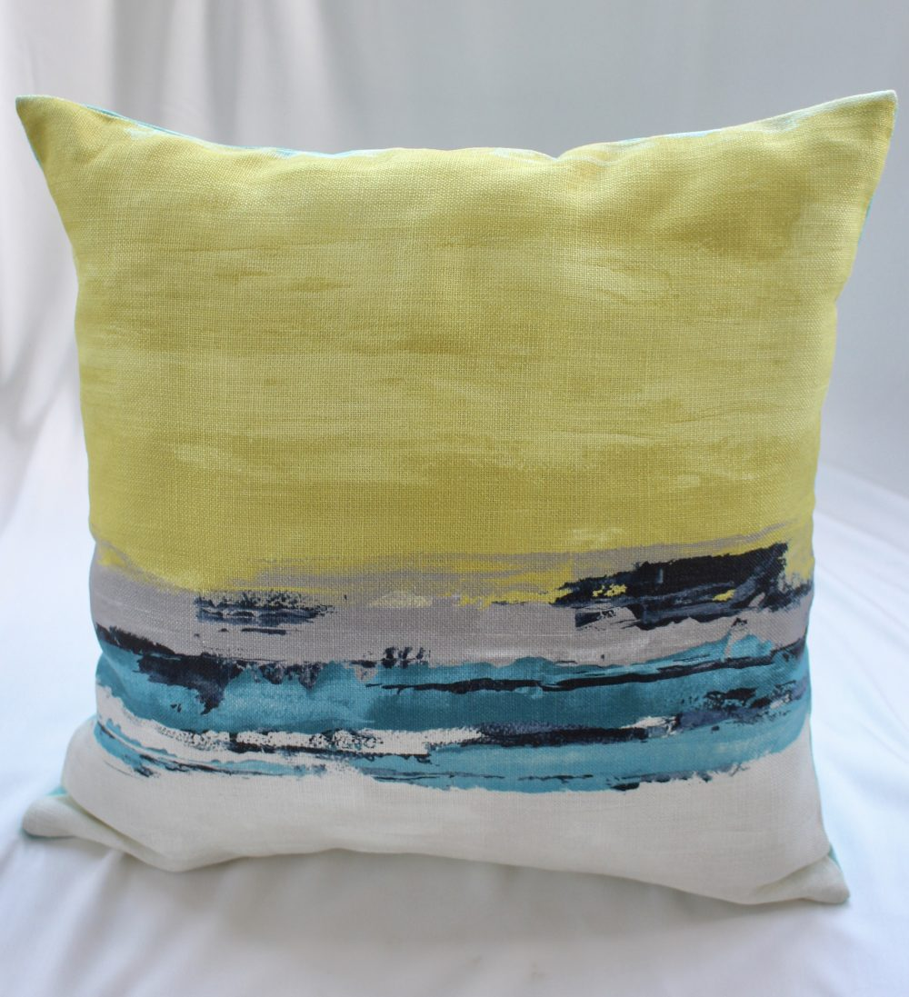 Linen Yellow/Blue Cushion